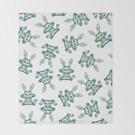 Blue rabbit with flora instead of coat Throw Blanket