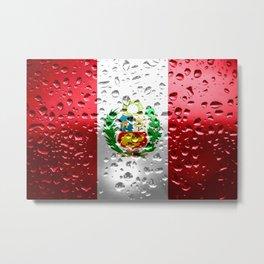 Flag of Peru - Raindrops Metal Print
