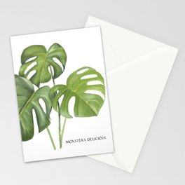 Monstera deliciosa 3 Leaves Stationery Cards