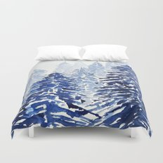 A snowy pine forest Duvet Cover
