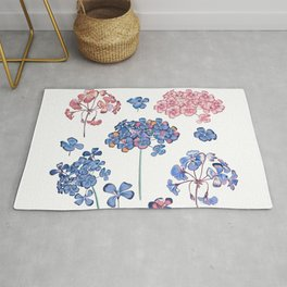 Collection of vector geranium flowers Rug