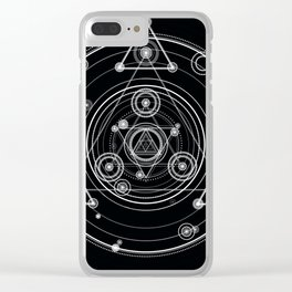 Sacred geometry black and white geometric art Clear iPhone Case