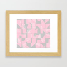 Blush and Gray Typographical Fragments Cheater Quilt Framed Art Print