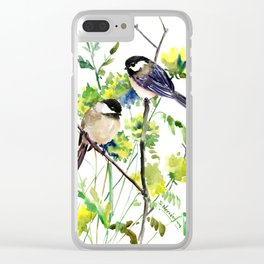 chickadees and Spring Blossom Clear iPhone Case