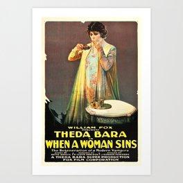 When a Woman Sins film poster (1918) Art Print
