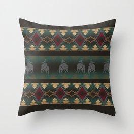 southwest stripe with horses Throw Pillow