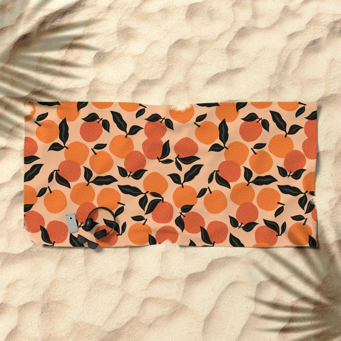 Seamless Citrus Pattern / Oranges Beach Towel