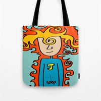 super hero Tote Bags featuring Joe Pansa Super Hero by Joe Pansa