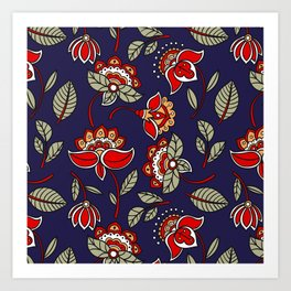 chinese floral Art Print