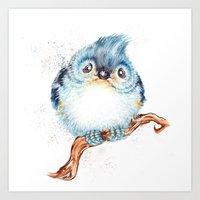 baby Art Prints featuring Baby titmouse by Patrizia Ambrosini
