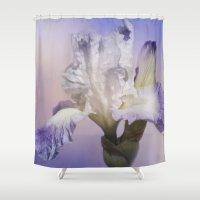 White Bearded Iris Shower Curtain