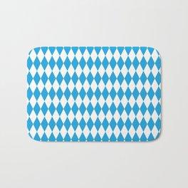 Oktoberfest Bavarian Blue and White Large Diagonal Diamond Pattern Bath Mat