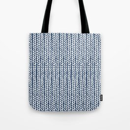 Knit Wave Navy Tote Bag