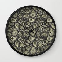 paisley Wall Clocks featuring Paisley by Sixter