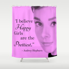 Happy Girls - Pink and Black - With Audrey Shower Curtain