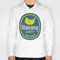 sticker Hoodies featuring Banana Sticker On Blue by Karolis Butenas