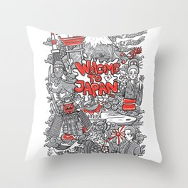 welcome to japan illustration Throw Pillow