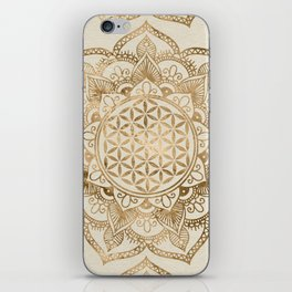 Flower of Life in Lotus - pastel golds and canvas iPhone Skin