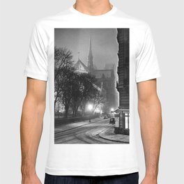 Notre Dame Cathedral, Winter Paris with snowfall black and white photograph / black and white photography T-shirt