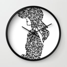 Kanji Calligraphy Art :woman's face #22 Wall Clock