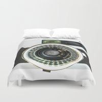 vintage camera Duvet Covers featuring Vintage camera by cafelab