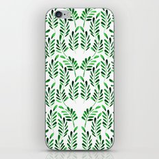 Boho green watercolor leafs iPhone & iPod Skin