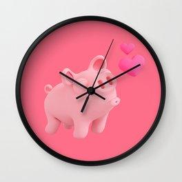 Rosa the Pig kisses Wall Clock