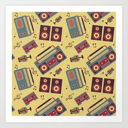 retro gadgets pattern Art Print