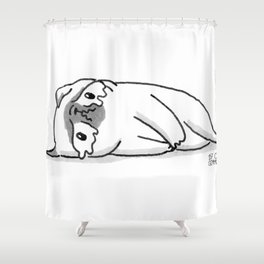 Sad Mochi the pug Shower Curtain