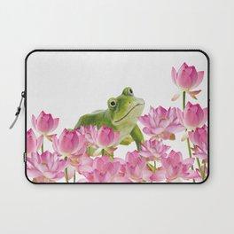 Lotos - Lotus Flower Frog Illustration Laptop Sleeve
