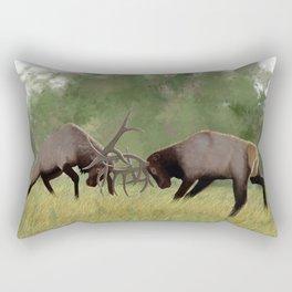 Bull Elk Fighting  Rectangular Pillow