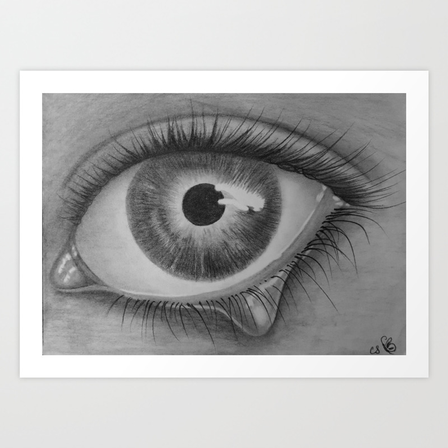 Black and white sad eye with tear art print