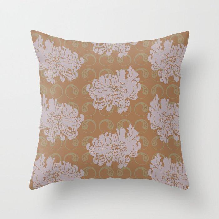 Chrysanthemums and Paisley 2 Throw Pillow