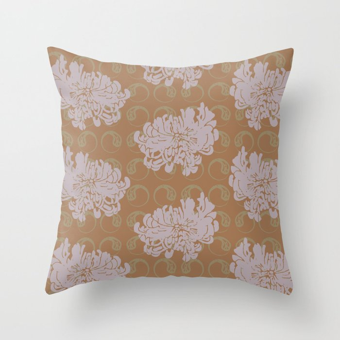 Chrysanthemums and Paisley 2 Throw Pillow