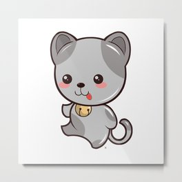 Happy Kitten Kawaii Metal Print
