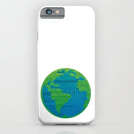 Earth shape with greenpeace concept words. Green and blue gradient background. iPhone Case