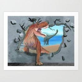 Prehistoric Dinosaur Tyrannosaurus Enters the 21st Century Art Print