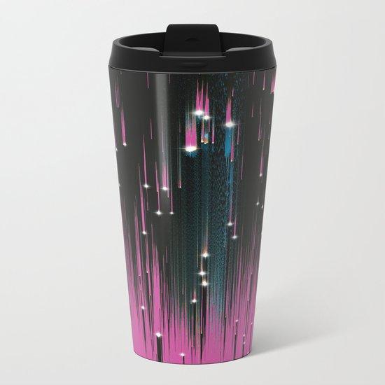 Pink Meteors Metal Travel Mug