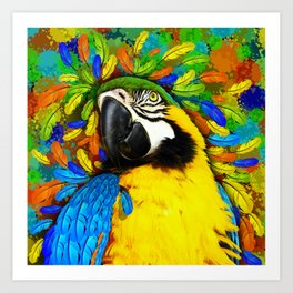 Gold and Blue Macaw Parrot Fantasy Art Print