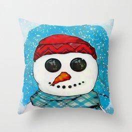 Reflections Christmas Snowman Folk Art Throw Pillow