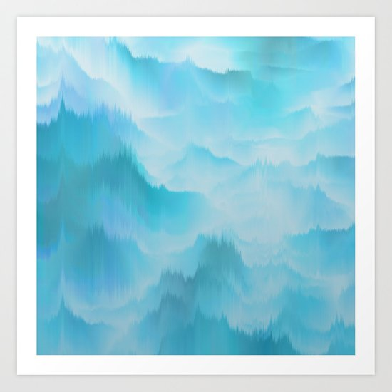 Clouds and mountains. Abstract. Art Print