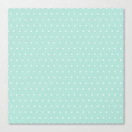 Aqua blue and White cross sign pattern Canvas Print