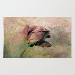 Painterly Pink Rose Bud Rug