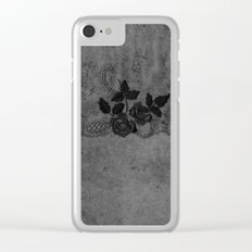 Pure elegance- Black floral luxury lace on dark grunge backround Clear iPhone Case