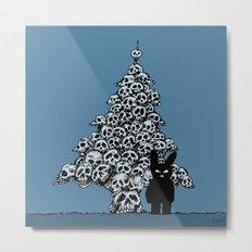 The Black Bunny of Doom and his Skull Christmas tree Metal Print