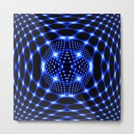 Neon blue glob fractal Metal Print