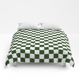 Large Dark Forest Green and White Check Squares Comforters