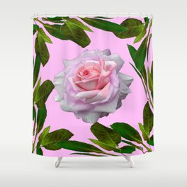 PINK GARDEN ROSE GREEN LEAVES ABSTRACT Shower Curtain