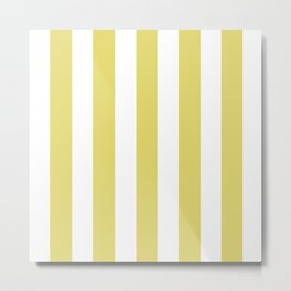 Straw green - solid color - white vertical lines pattern Metal Print