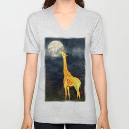 What the moon tastes like? (Giraffe and Moon) Unisex V-Neck